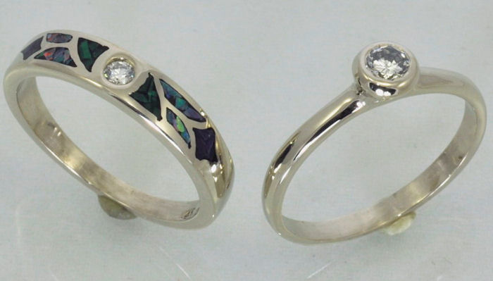 Diamond Solitaire Engagement Ring Inlaid Wedding Ring