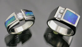 Handcrafte white gold and Australian Opal wedding set by James A. Hardwick in Salt Lake City, UT.