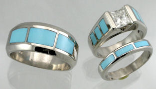 Sleeping Beauty Turquoise and Diamond Wedding Set James Hardwick