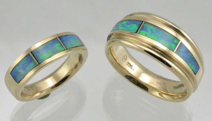 Yellow Gold Australian Opal Wedding Rings Blue and Green Australian opal  inlaid in 14KT yellow gold bands Matching Wedding Sets by James Hardwick Jewelers Page 2. Inlay Wedding Bands. Home Design Ideas