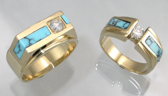 14kt yellow gold wedding rings with diamonds and turquoise inlay by james hardwick - Turquoise Wedding Rings