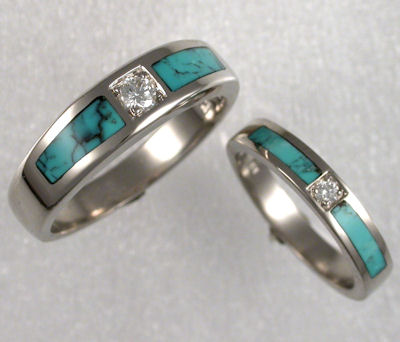 White gold diamond and turquoise inlay wedding bands from James Hardwick  Jewelers Matching Wedding Sets by James Hardwick Jewelers Page 2. Inlay Wedding Bands. Home Design Ideas