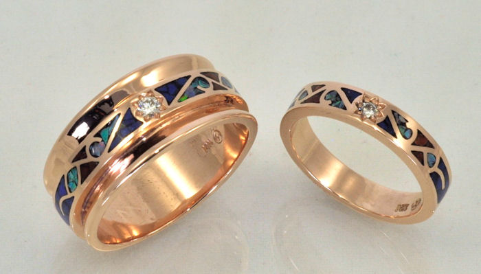 14KT rose gold matching wedding bands with gemstone inlay and diamonds Matching Wedding Sets by James Hardwick Jewelers Page 3. Inlay Wedding Bands. Home Design Ideas