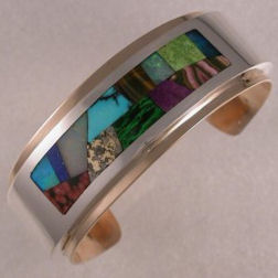 Sterling Silver and 14KT yellow gold inlay bracelet by James Hardwick