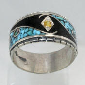 Turquoise and Onyx Inlay Band With Yellow Sapphire